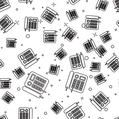 Black line Telephone icon isolated seamless pattern on white background. Landline phone. Vector Illustration Foto de archivo - 136540604