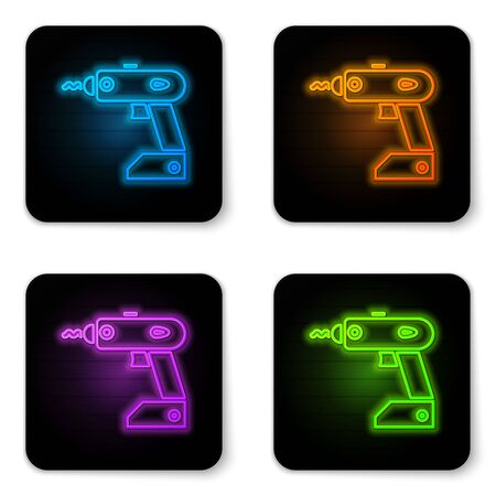 Glowing neon Electric cordless screwdriver icon isolated on white background. Electric drill machine. Repair tool. Black square button. Vector Illustration