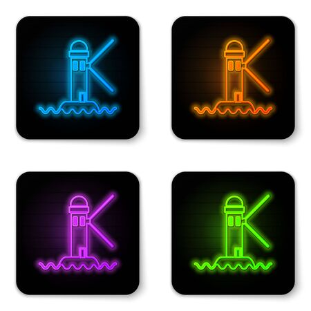 Glowing neon Lighthouse icon isolated on white background. Black square button. Vector Illustration