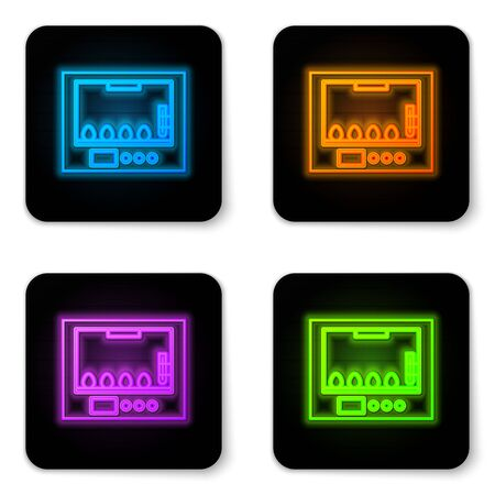 Glowing neon Incubator for eggs icon isolated on white background. Black square button. Vector Illustration
