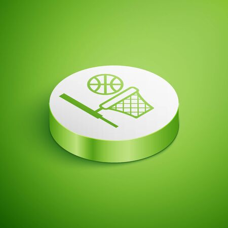 Isometric Basketball ball and basket icon isolated on green background. Ball in basketball hoop. White circle button. Vector Illustration