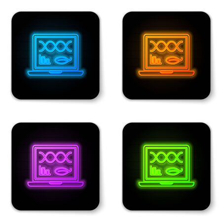 Glowing neon Genetic engineering modification on laptop icon isolated on white background. DNA analysis, genetics testing, cloning. Black square button. Vector Illustration