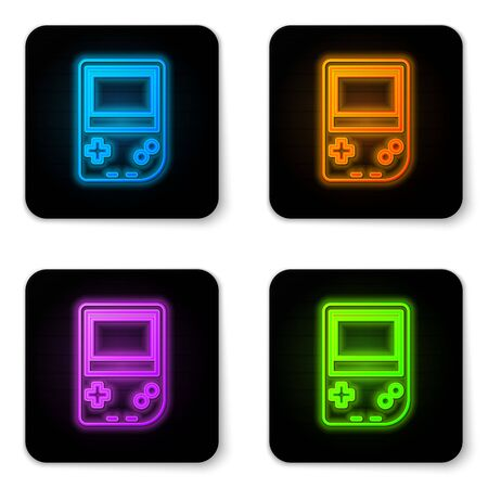 Glowing neon Portable video game console icon isolated on white background. Gamepad sign. Gaming concept. Black square button. Vector Illustration