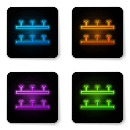 Glowing neon Automatic irrigation sprinklers icon isolated on white background. Watering equipment. Garden element. Spray gun icon. Black square button. Vector Illustration