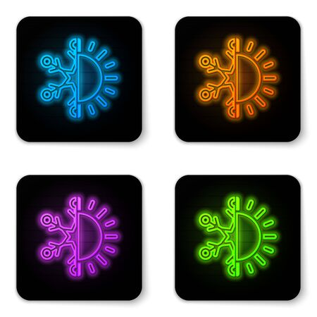 Glowing neon Hot and cold symbol. Sun and snowflake icon isolated on white background. Winter and summer symbol. Black square button. Vector Illustration Vektoros illusztráció