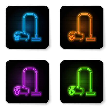 Glowing neon Vacuum cleaner icon isolated on white background. Black square button. Vector Illustration Stock Illustratie