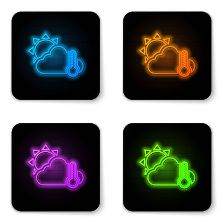 Glowing neon Thermometer and cloud with sun icon isolated on white background. Black square button. Vector Illustration