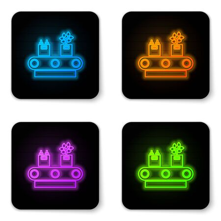 Glowing neon Conveyor belt with cardboard box icon isolated on white background. Black square button. Vector Illustration