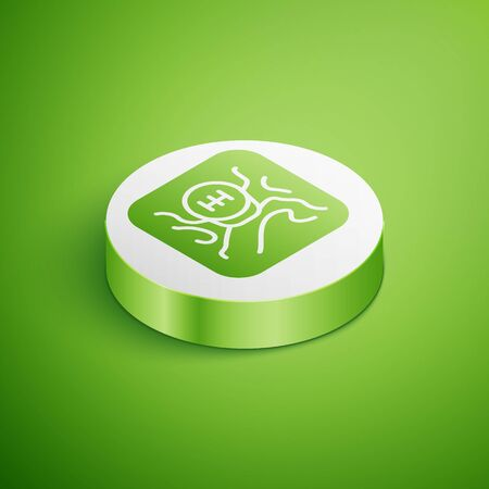 Isometric Gear shifter icon isolated on green background. Transmission icon. White circle button. Vector Illustration Vector Illustration