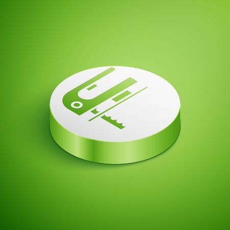 Isometric Electric jigsaw with steel sharp blade icon isolated on green background. Power tool for woodwork. White circle button. Vector Illustration