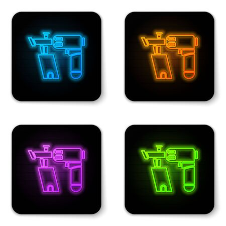 Glowing neon Nail gun icon isolated on white background. Black square button. Vector Illustration