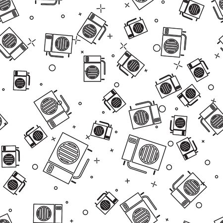 Black line Air conditioner icon isolated seamless pattern on white background. Split system air conditioning. Cool and cold climate control system. Vector Illustration