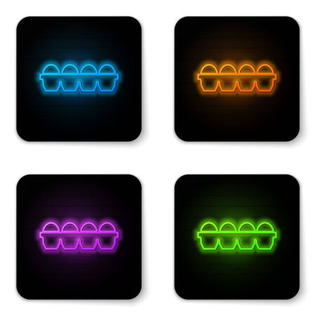 Glowing neon Chicken egg in box icon isolated on white background. Black square button. Vector Illustration Ilustração