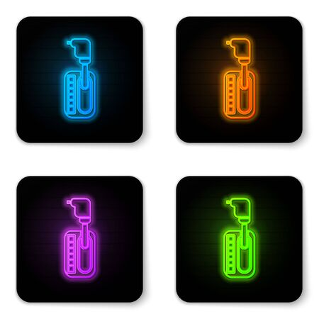 Glowing neon Gear shifter icon isolated on white background. Transmission icon. Black square button. Vector Illustration