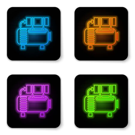 Glowing neon Air compressor icon isolated on white background. Black square button. Vector Illustration