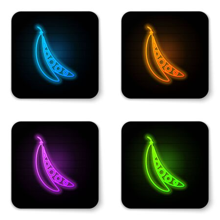 Glowing neon Kidney beans icon isolated on white background. Black square button. Vector Illustration