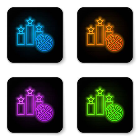 Glowing neon Basketball over sports winner podium icon isolated on white background. Black square button. Vector Illustration