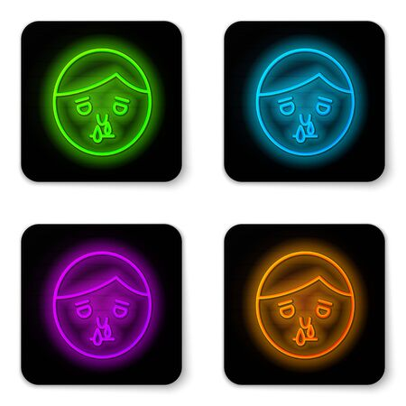 Glowing neon line Runny nose icon isolated on white background. Rhinitis symptoms, treatment. Nose and sneezing. Nasal diseases. Black square button. Vector Illustration