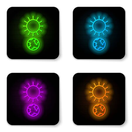 Glowing neon line Solstice icon isolated on white background. Black square button. Vector Illustration