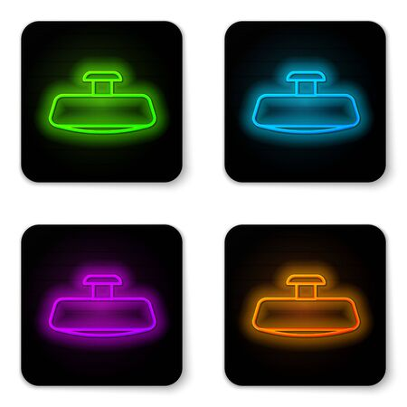 Glowing neon line Car mirror icon isolated on white background. Black square button. Vector Illustration
