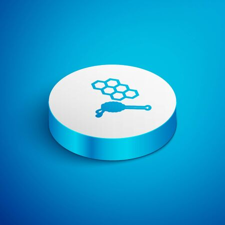 Isometric line Honeycomb with honey dipper stickicon isolated on blue background. Honey ladle. Honey cells symbol. Sweet natural food. White circle button. Vector Illustration