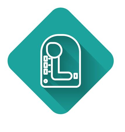 White line Gear shifter icon isolated with long shadow. Transmission icon. Green square button. Vector Illustration