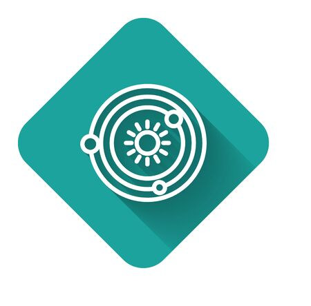 White line Solar system icon isolated with long shadow. The planets revolve around the star. Green square button. Vector Illustration