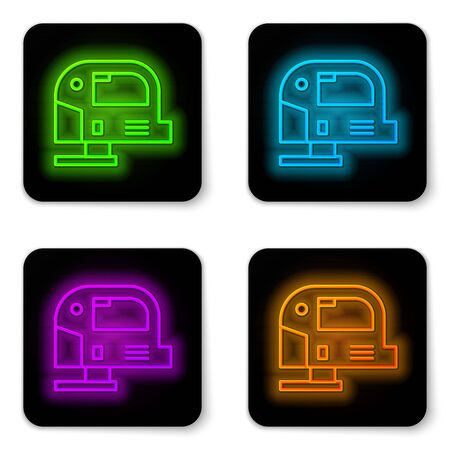 Glowing neon line Electric jigsaw with steel sharp blade icon isolated on white background. Power tool for woodwork. Black square button. Vector Illustration