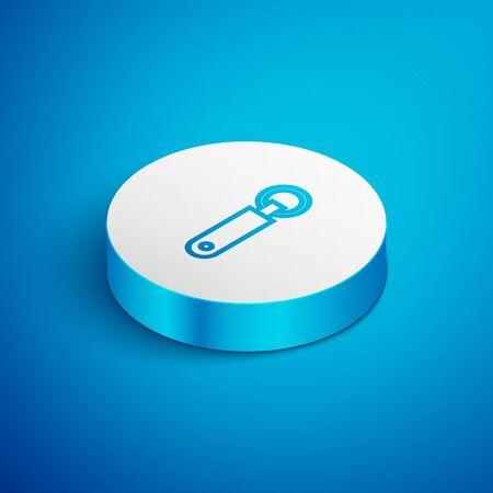 Isometric line Bottle opener icon isolated on blue background. White circle button. Vector Illustration Ilustração