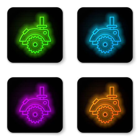 Glowing neon line Electric circular saw with steel toothed disc icon isolated on white background. Electric hand tool for cutting wood or metal. Black square button. Vector Illustration Illustration