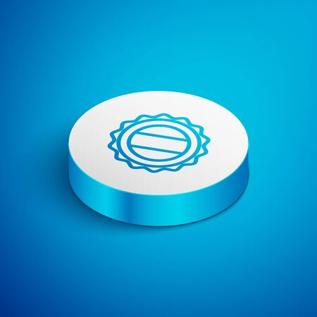Isometric line Bottle cap icon isolated on blue background. White circle button. Vector Illustration