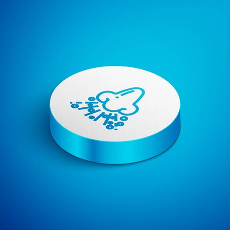 Isometric line Runny nose icon isolated on blue background. Rhinitis symptoms, treatment. Nose and sneezing. Nasal diseases. White circle button. Vector Illustration