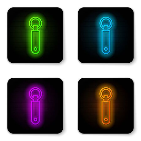 Glowing neon line Bottle opener icon isolated on white background. Black square button. Vector Illustration