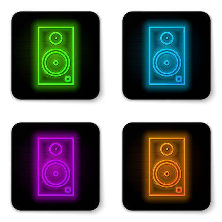 Glowing neon line Stereo speaker icon isolated on white background. Sound system speakers. Music icon. Musical column speaker bass equipment. Black square button. Vector Illustration Vektorgrafik