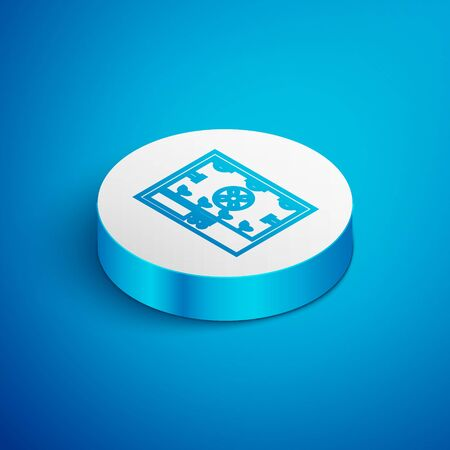 Isometric line Smart farming technology - farm automation system icon isolated on blue background. White circle button. Vector Illustration