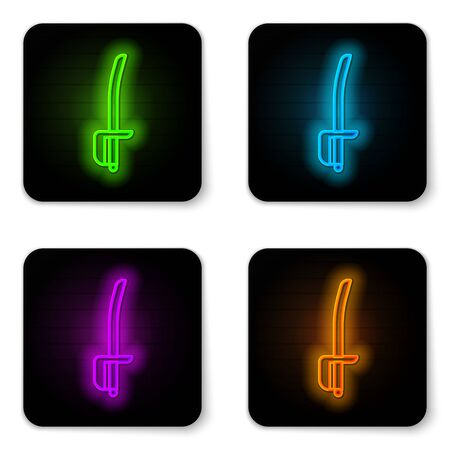 Glowing neon line Pirate sword icon isolated on white background. Sabre sign. Black square button. Vector Illustration