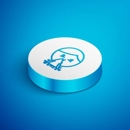Isometric line Man holding handkerchief or napkin to his runny nose icon isolated on blue background. Coryza desease symptoms. White circle button. Vector Illustration