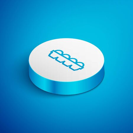 Isometric line Chicken egg in box icon isolated on blue background. White circle button. Vector Illustration