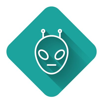 White line Alien icon isolated with long shadow. Extraterrestrial alien face or head symbol. Green square button. Vector Illustration