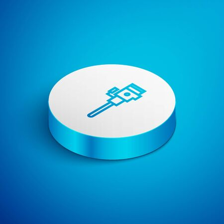 Isometric line Construction jackhammer icon isolated on blue background. White circle button. Vector Illustration