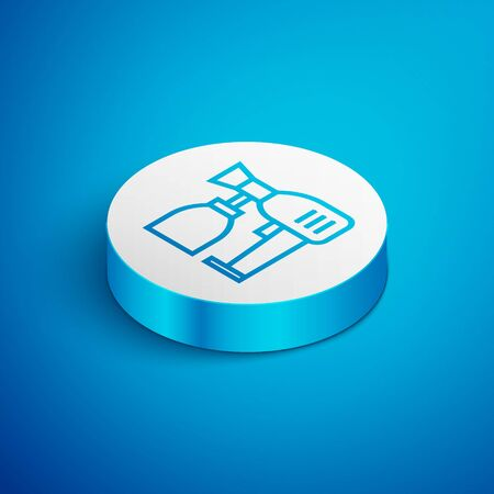 Isometric line Paint spray gun icon isolated on blue background. White circle button. Vector Illustration