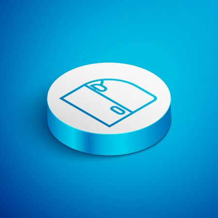 Isometric line Car door icon isolated on blue background. White circle button. Vector Illustration