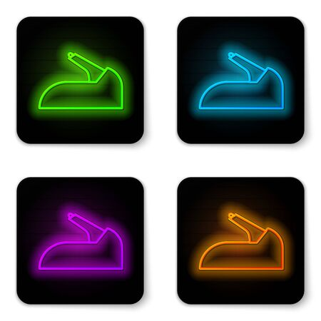 Glowing neon line Car handbrake icon isolated on white background. Parking brake lever. Black square button. Vector Illustration