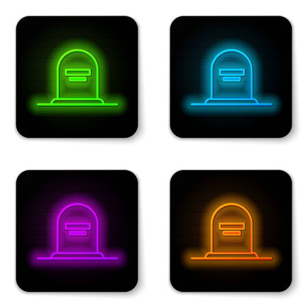 Glowing neon line Tombstone with RIP written on it icon isolated on white background. Grave icon. Black square button. Vector Illustration