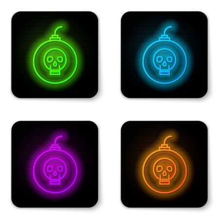 Glowing neon line Bomb ready to explode icon isolated on white background. Happy Halloween party. Black square button. Vector Illustration Illustration
