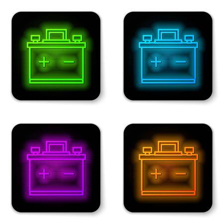 Glowing neon line Car battery icon isolated on white background. Accumulator battery energy power and electricity accumulator battery. Black square button. Vector Illustration
