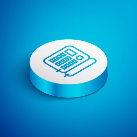 Isometric line Telephone icon isolated on blue background. Landline phone. White circle button. Vector Illustration Foto de archivo - 136620801