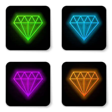 Glowing neon line Diamond icon isolated on white background. Jewelry symbol. Gem stone. Black square button. Vector Illustration