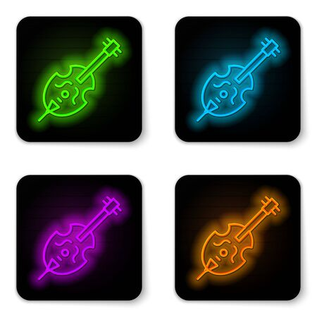 Glowing neon line Violin icon isolated on white background. Musical instrument. Black square button. Vector Illustration