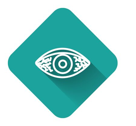 White line Reddish eye due to viral, bacterial or allergic conjunctivitis icon isolated with long shadow. Green square button. Vector Illustration